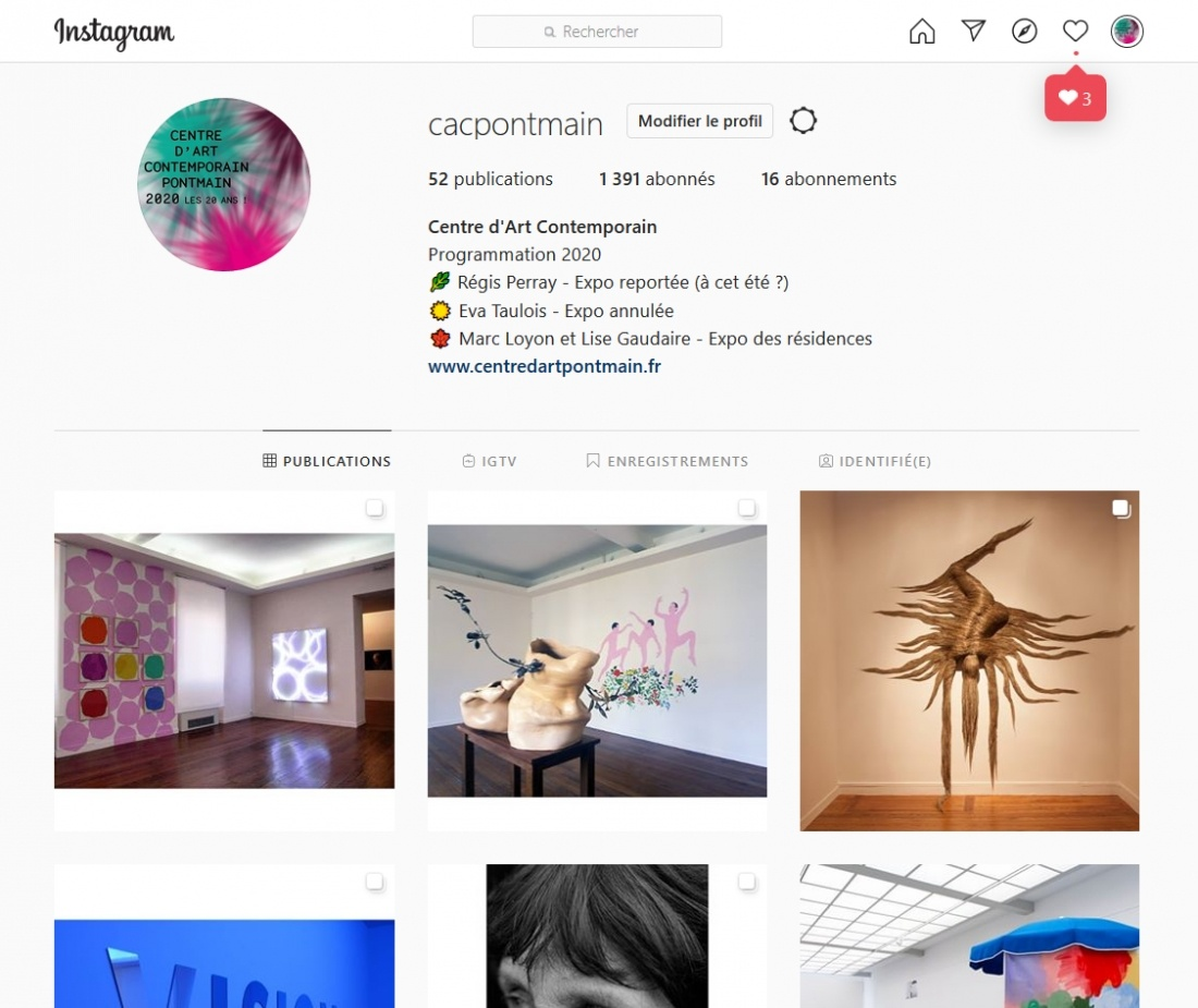 @cacpontmain Compte Instagram du Centre d'Art Contemporain
